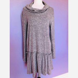 Charming Charlie grey cowl knit long sleeve dress